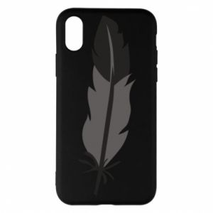Phone case for iPhone X/Xs Black feather - PrintSalon