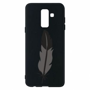 Phone case for Samsung A6+ 2018 Black feather - PrintSalon