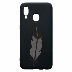 Phone case for Samsung A40 Black feather - PrintSalon
