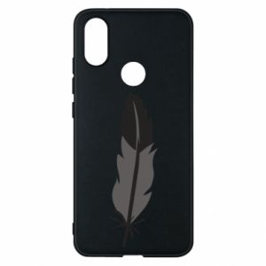 Phone case for Xiaomi Mi A2 Black feather - PrintSalon