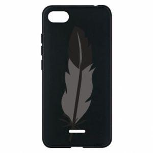 Phone case for Xiaomi Redmi 6A Black feather - PrintSalon