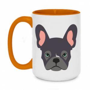 Kubek dwukolorowy 450ml Black french bulldog