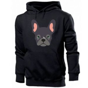 Męska bluza z kapturem Black french bulldog
