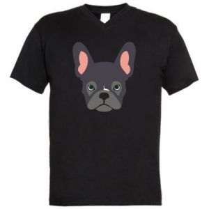 Męska koszulka V-neck Black french bulldog