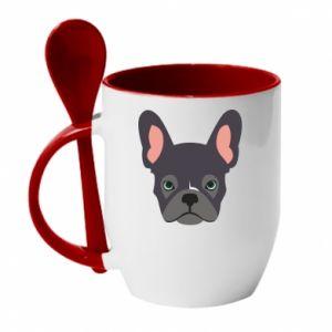 Mug with ceramic spoon Black french bulldog - PrintSalon