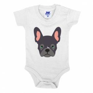 Baby bodysuit Black french bulldog - PrintSalon