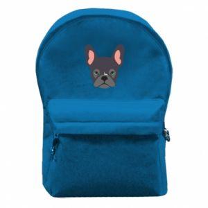 Backpack with front pocket Black french bulldog - PrintSalon