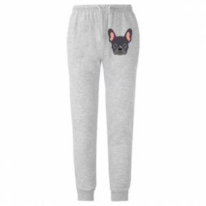 Męskie spodnie lekkie Black french bulldog - PrintSalon