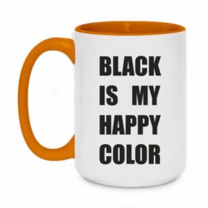 Two-toned mug 450ml Black is my happy color