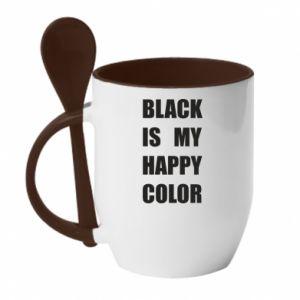 Kubek z ceramiczną łyżeczką Black is my happy color