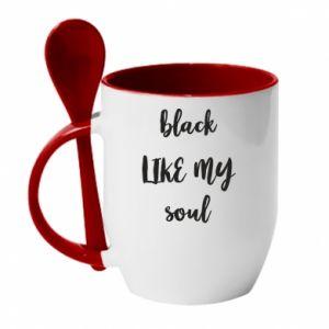 Kubek z ceramiczną łyżeczką Black like my soul