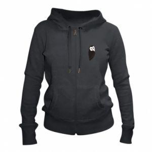 Women's zip up hoodies Black owl - PrintSalon