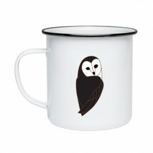 Enameled mug Black owl - PrintSalon