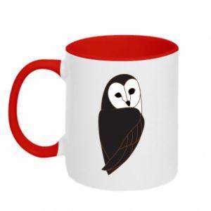 Two-toned mug Black owl - PrintSalon