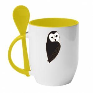 Mug with ceramic spoon Black owl - PrintSalon