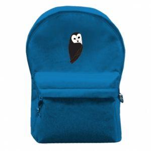 Backpack with front pocket Black owl - PrintSalon
