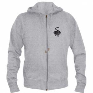 Men's zip up hoodie Black rattlesnake - PrintSalon