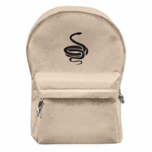 Backpack with front pocket Black rattlesnake - PrintSalon
