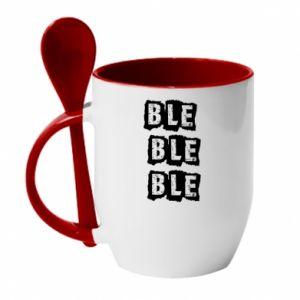 Mug with ceramic spoon Ble... - PrintSalon