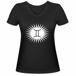 """Damska koszulka V-neck Nadruk z napisem """"Twins"""" - PrintSalon"""