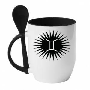 """Kubek z ceramiczną łyżeczką Nadruk z napisem """"Twins"""" - PrintSalon"""