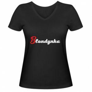 Women's V-neck t-shirt Inscription: Blonde - PrintSalon