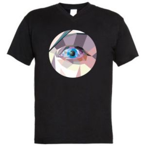 Men's V-neck t-shirt Blue eye - PrintSalon