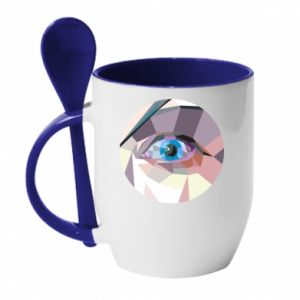 Mug with ceramic spoon Blue eye - PrintSalon