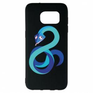 Etui na Samsung S7 EDGE Blue snake