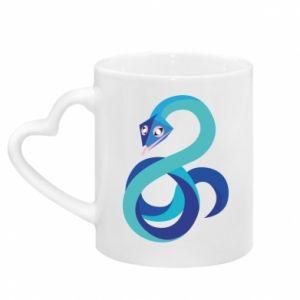 Kubek z uchwytem w kształcie serca Blue snake