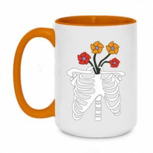 Two-toned mug 450ml Bones with flowers