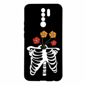 Etui na Xiaomi Redmi 9 Bones with flowers
