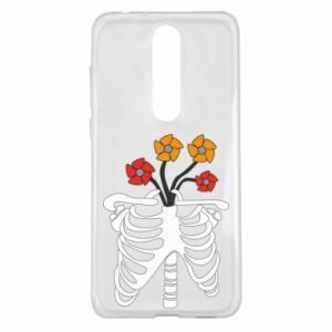 Etui na Nokia 5.1 Plus Bones with flowers