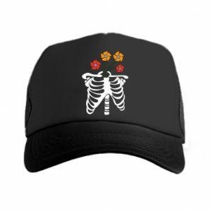 Trucker hat Bones with flowers