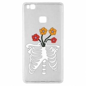Etui na Huawei P9 Lite Bones with flowers