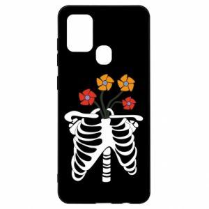 Etui na Samsung A21s Bones with flowers