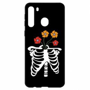 Etui na Samsung A21 Bones with flowers