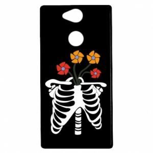 Etui na Sony Xperia XA2 Bones with flowers