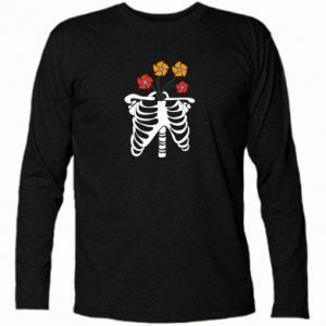 Koszulka z długim rękawem Bones with flowers