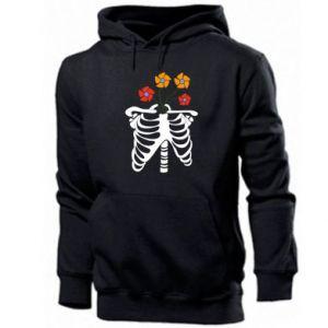Men's hoodie Bones with flowers