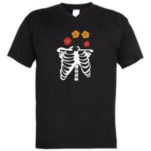 Męska koszulka V-neck Bones with flowers