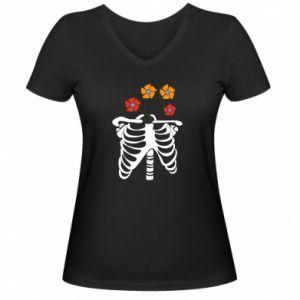 Damska koszulka V-neck Bones with flowers