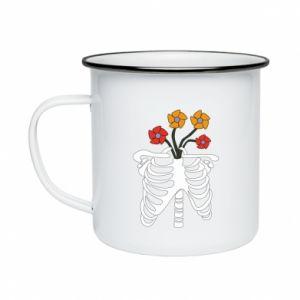Enameled mug Bones with flowers