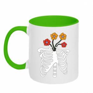 Kubek dwukolorowy Bones with flowers