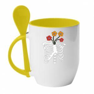 Kubek z ceramiczną łyżeczką Bones with flowers