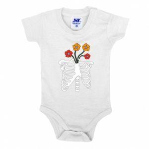 Baby bodysuit Bones with flowers