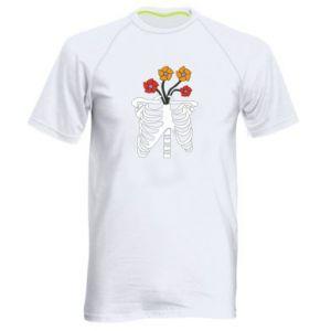 Men's sports t-shirt Bones with flowers