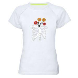 Damska koszulka sportowa Bones with flowers