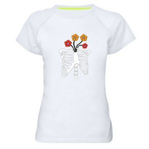 Women's sports t-shirt Bones with flowers