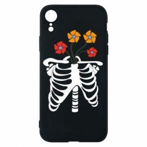 Etui na iPhone XR Bones with flowers